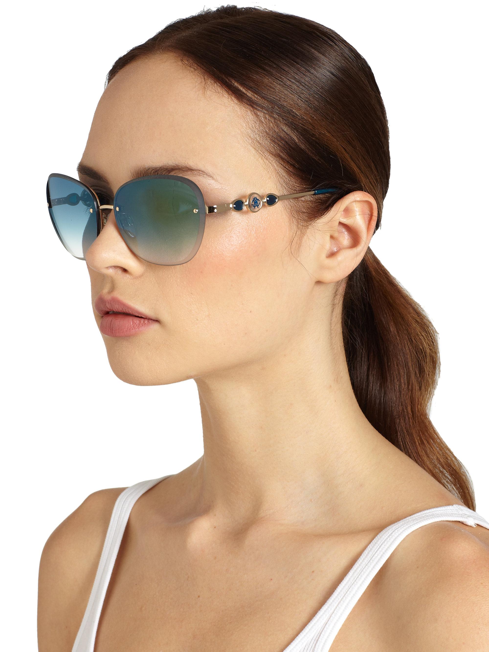 Frameless Circle Glasses : Roberto cavalli Rimless Round Sunglasses in Blue Lyst