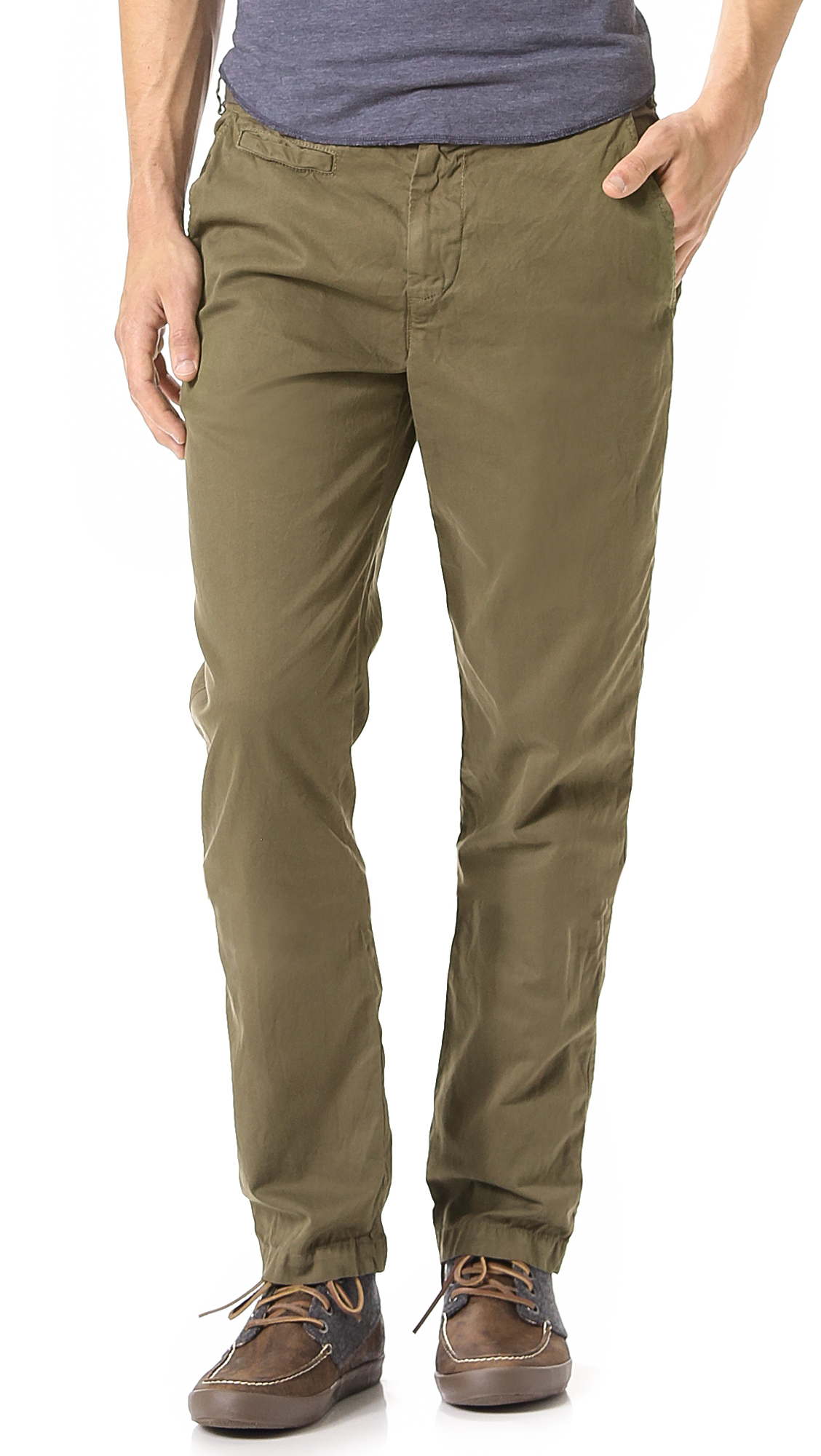 Save khaki Slim Trousers in Green for Men | Lyst