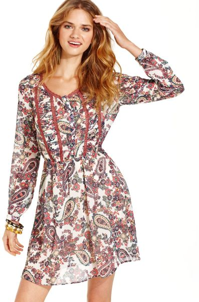 Teen Vogue Bell Sleeve Paisley Fit Flare Dress In