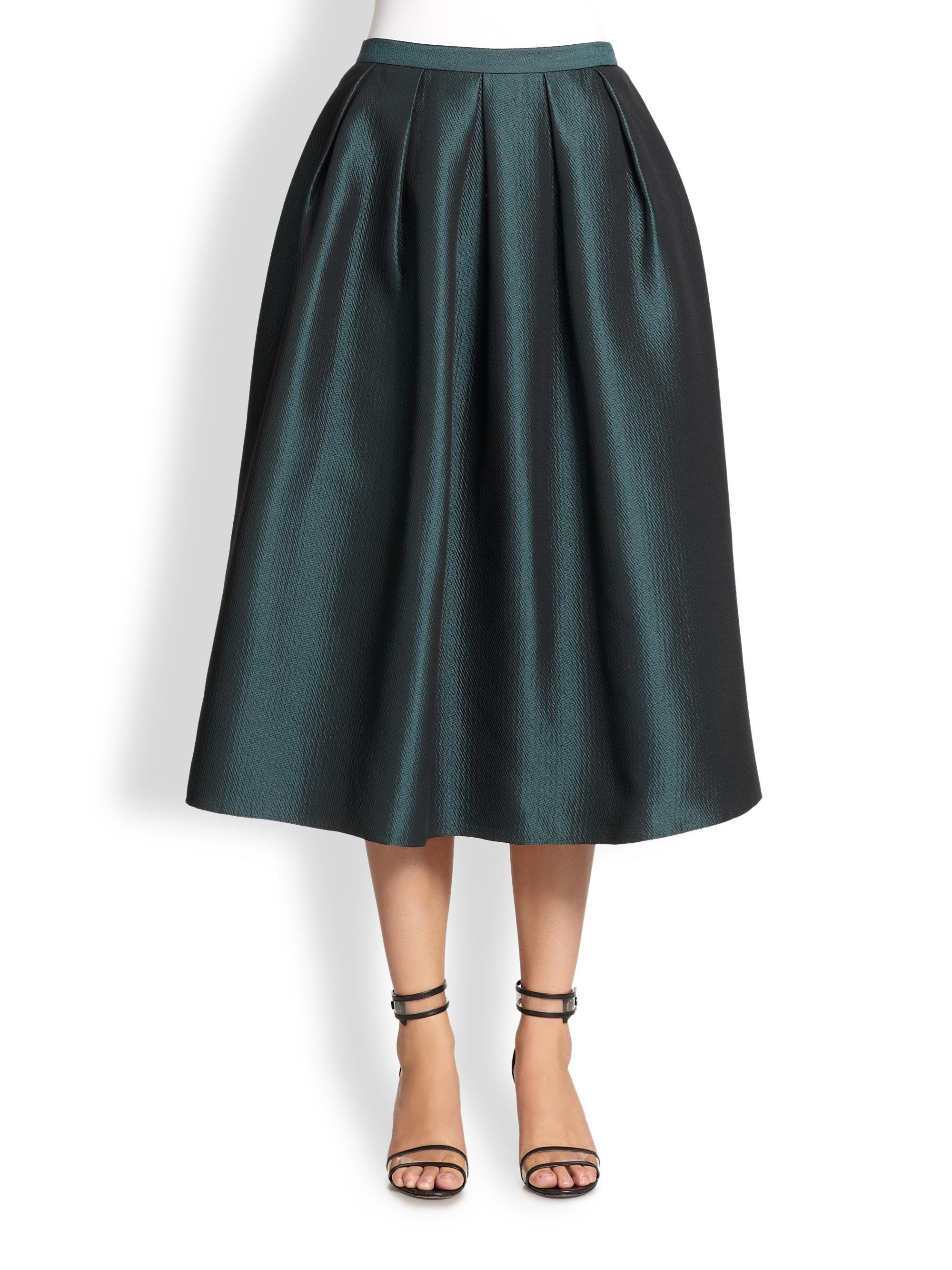 tibi simona jacquard midi skirt in green lyst