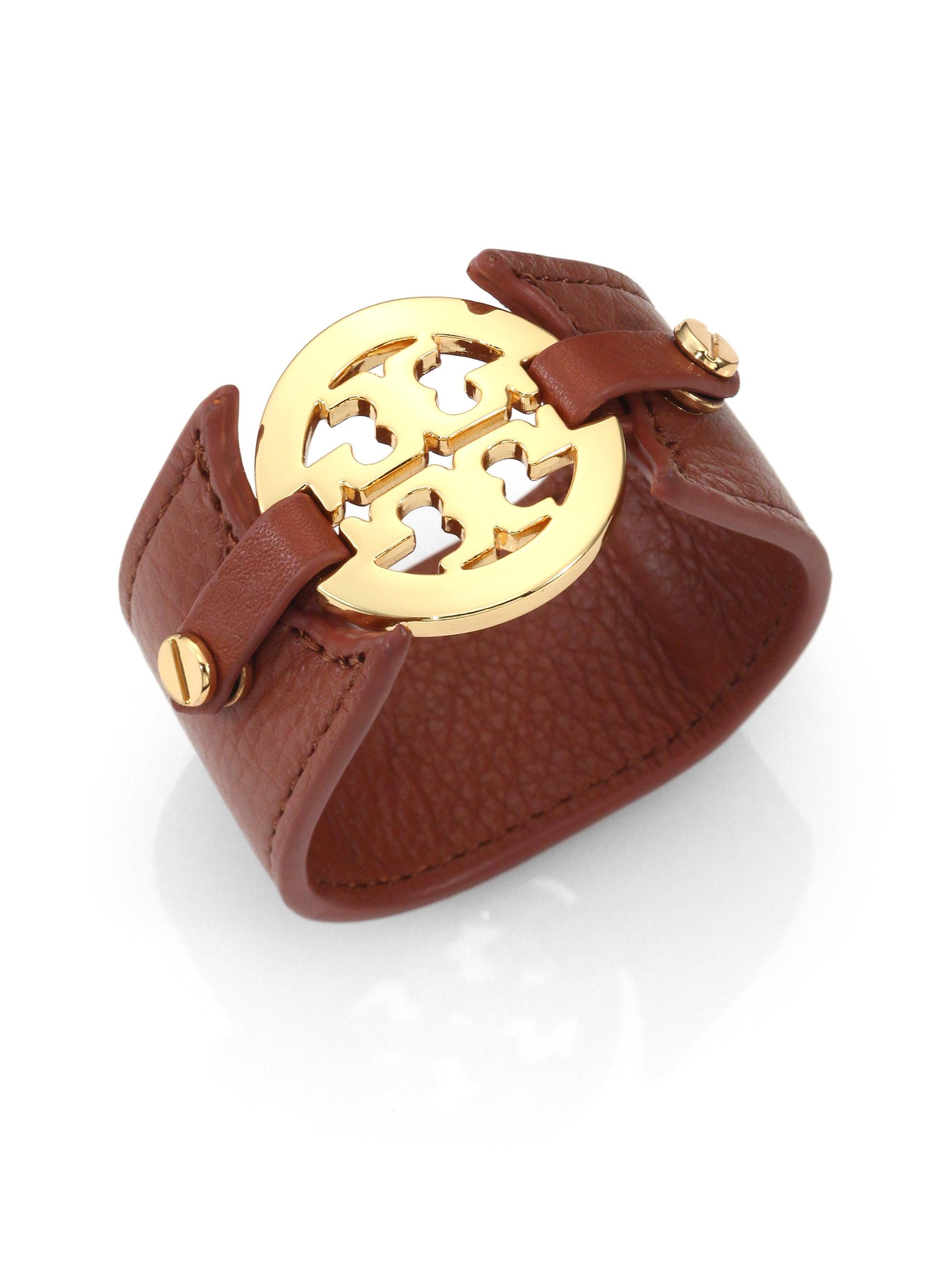 Lyst Tory Burch Logo Leather Cuff Bracelet In Brown