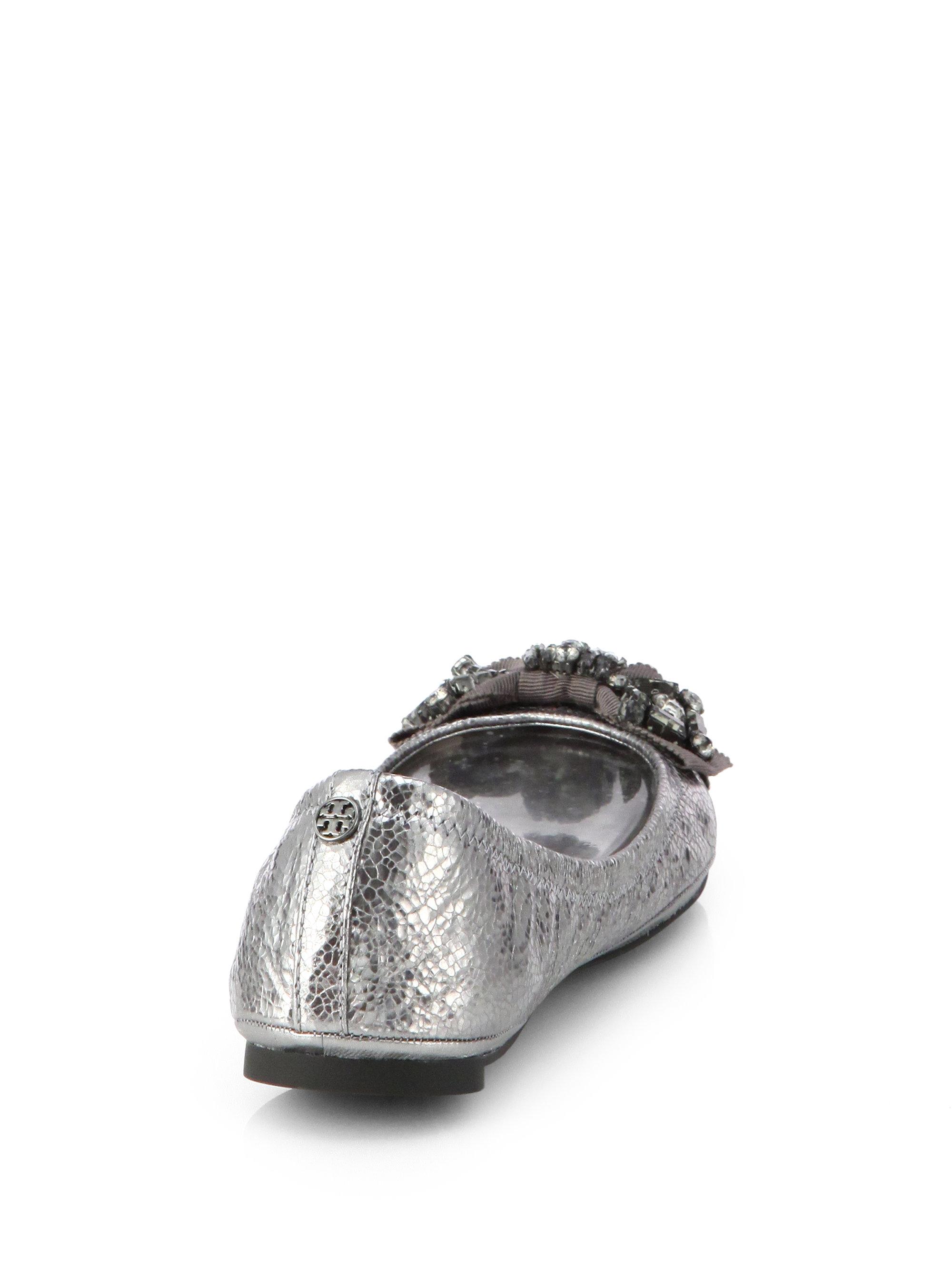 6786cd9e4bc Lyst - Tory Burch Azalea Jeweled Mirror Leather Ballet Flats in Metallic