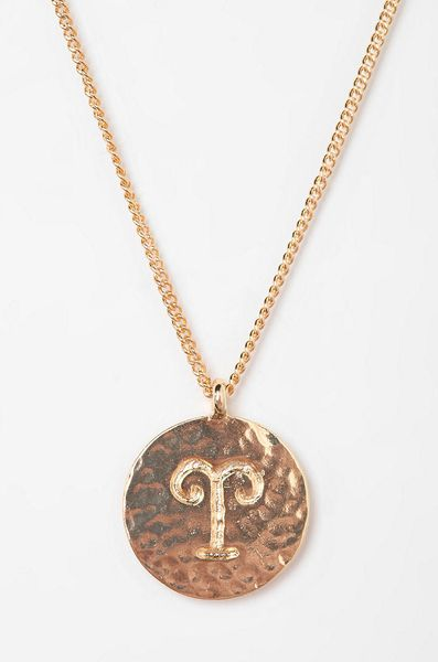 Urban Outfitters Rhinestone Zodiac Necklace in Pink (ARIES) | Lyst