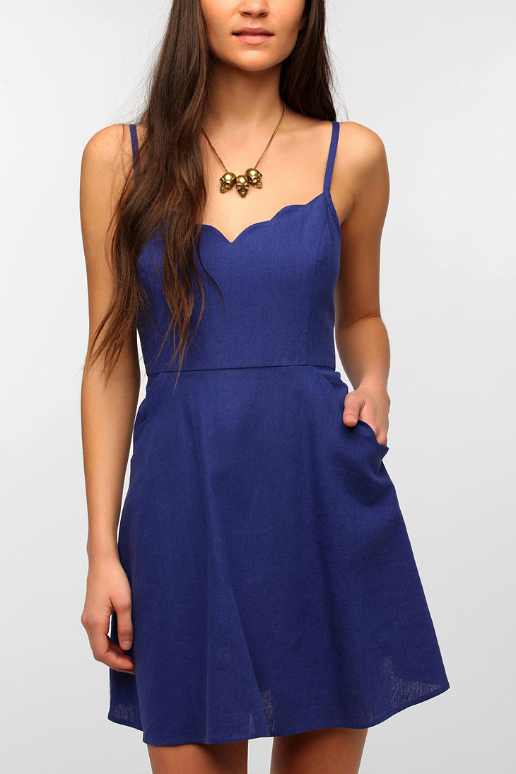 Lyst Urban Outfitters Cope Scallop Trim Linen Dress In Blue