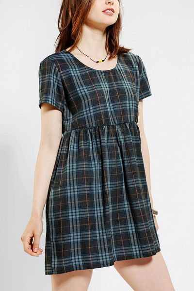 Urban Outfitters Bycorpus Plaid Babydoll Dress In Blue