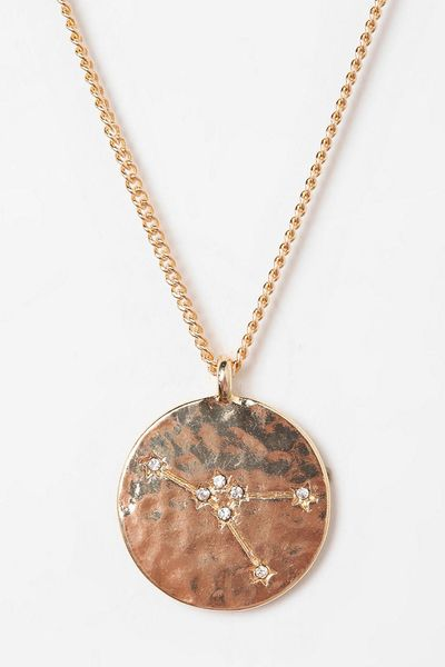 Urban Outfitters Rhinestone Zodiac Necklace in Pink (CANCER) | Lyst