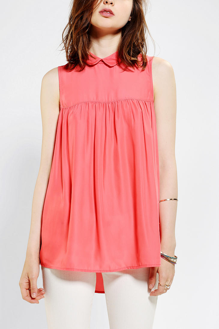 Gallery - Urban Outfitters Cooperative Collared Babydoll Blouse In Pink Lyst