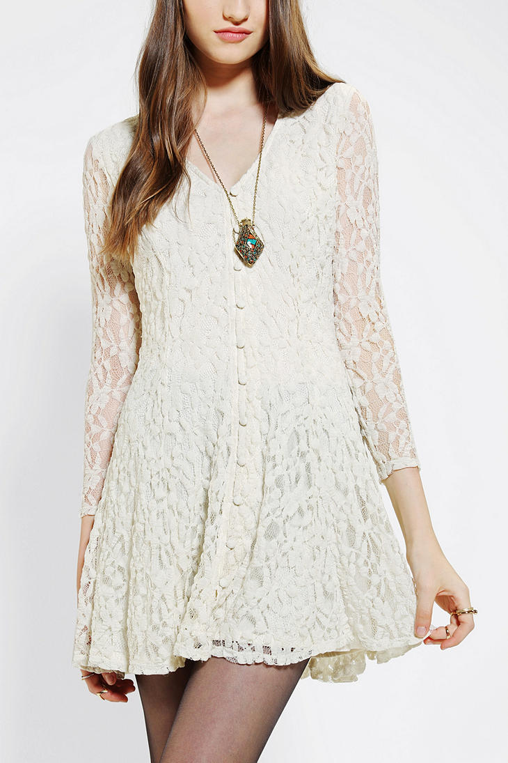 Urban outfitters pins and needles dress white lace