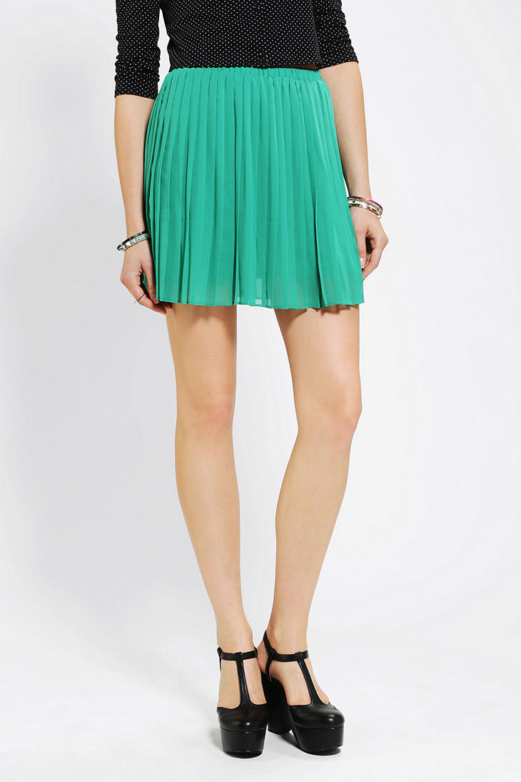 Urban Outfitters Sparkle Fade Pleated Chiffon Mini Skirt