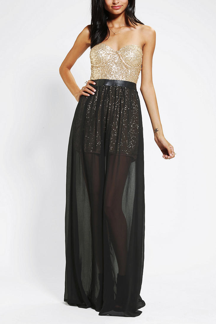 urban outfitters gold reverse sequin bustier strapless maxi dress product 1 13933516 044612069