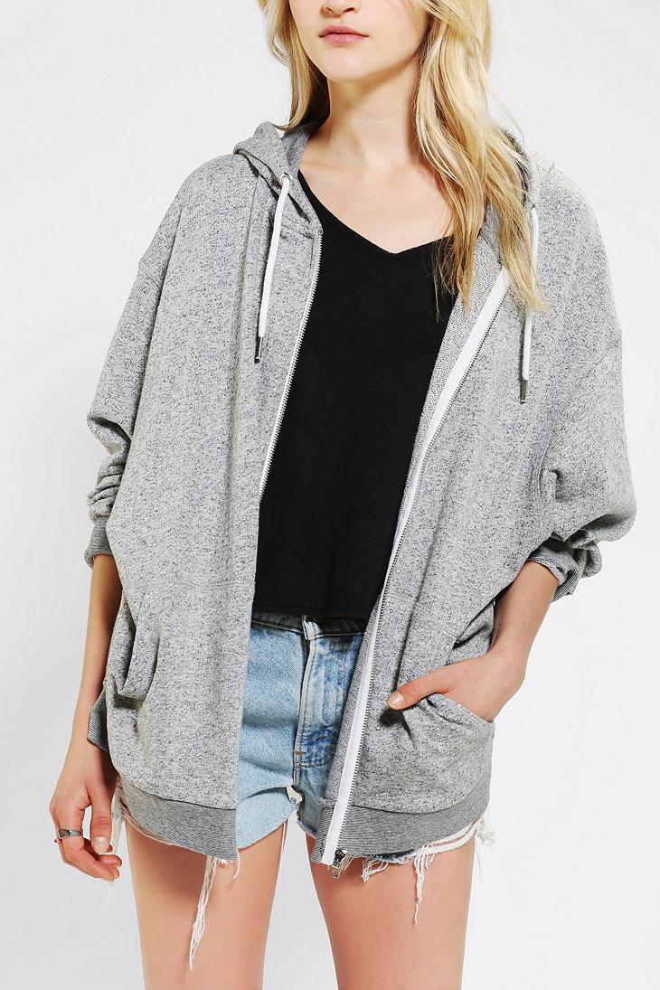 Urban outfitters Oversized Zip Up Hoodie Sweatshirt in Gray | Lyst