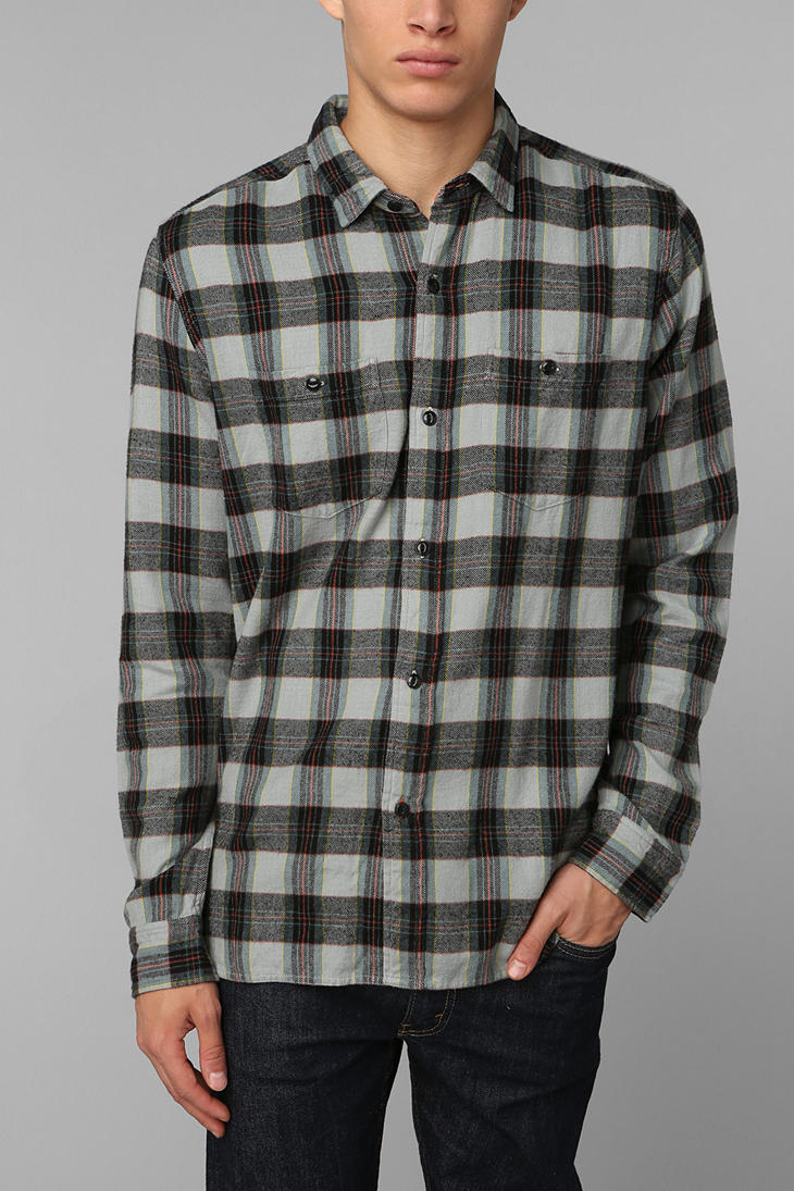 Stapleford stapleford morrone plaid flannel button down for Mens grey button down dress shirt