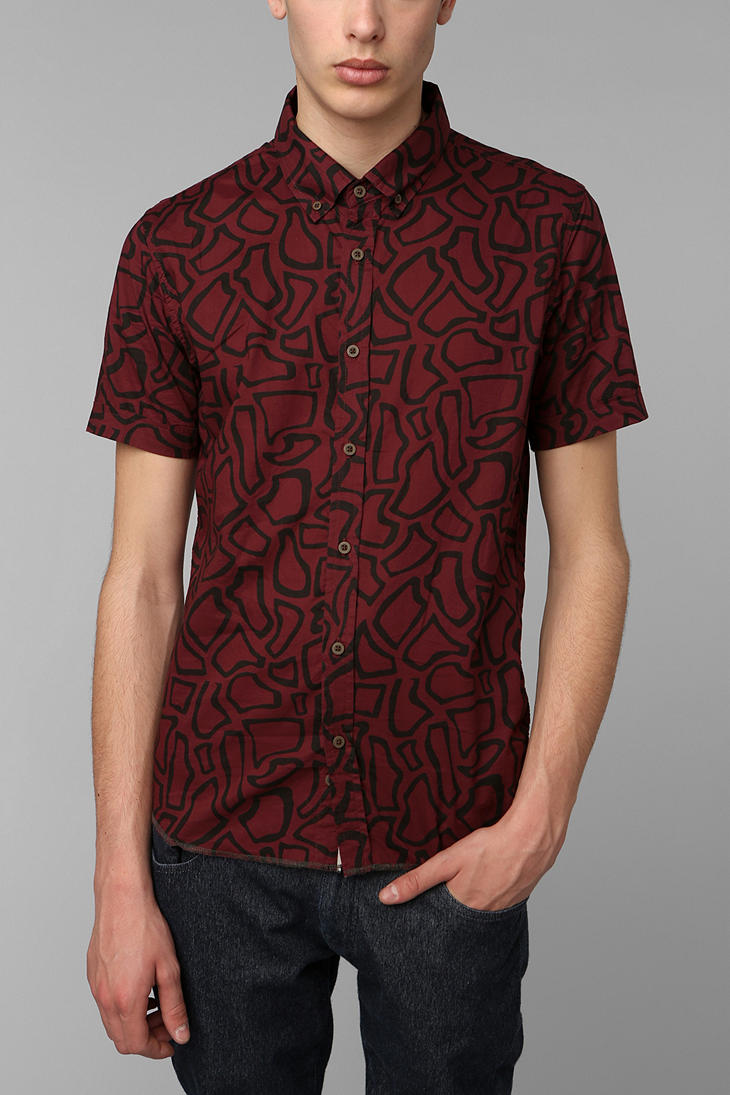 Urban outfitters Zanerobe Printed Buttondown Shirt in Red for Men ...