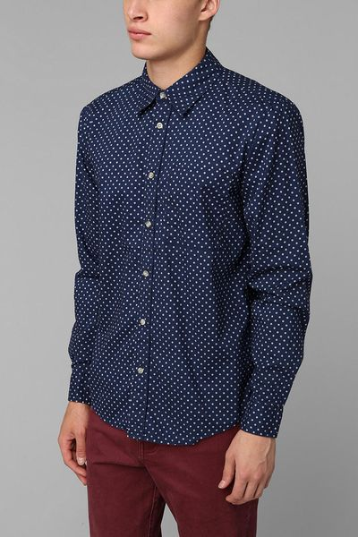Men 39 s urban outfitters button down shirts mens gladiator for Button down polka dot shirt