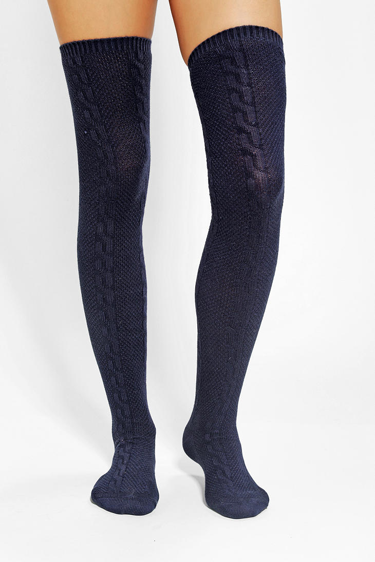 95e6b0748da Urban Outfitters Textured Cable Thigh High Sock in Blue - Lyst