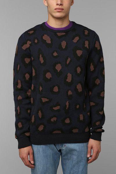 Urban outfitters zanerobe big cat sweater in blue for men for Lucky cat shirt urban outfitters