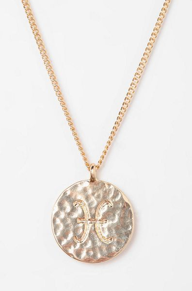 Urban Outfitters Rhinestone Zodiac Necklace in Pink (PISCES) | Lyst