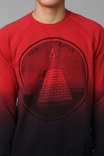 urban outfitters deter illuminati dipdye sweatshirt in red