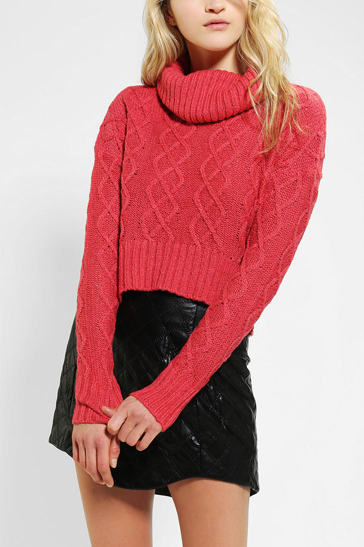 Urban outfitters Pins and Needles Cableknit Cropped Turtleneck ...