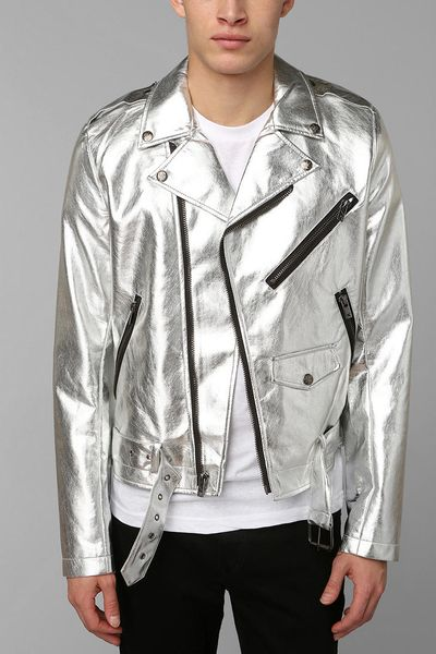 Urban Outfitters Tripp Nyc Silver Moto Jacket In Silver
