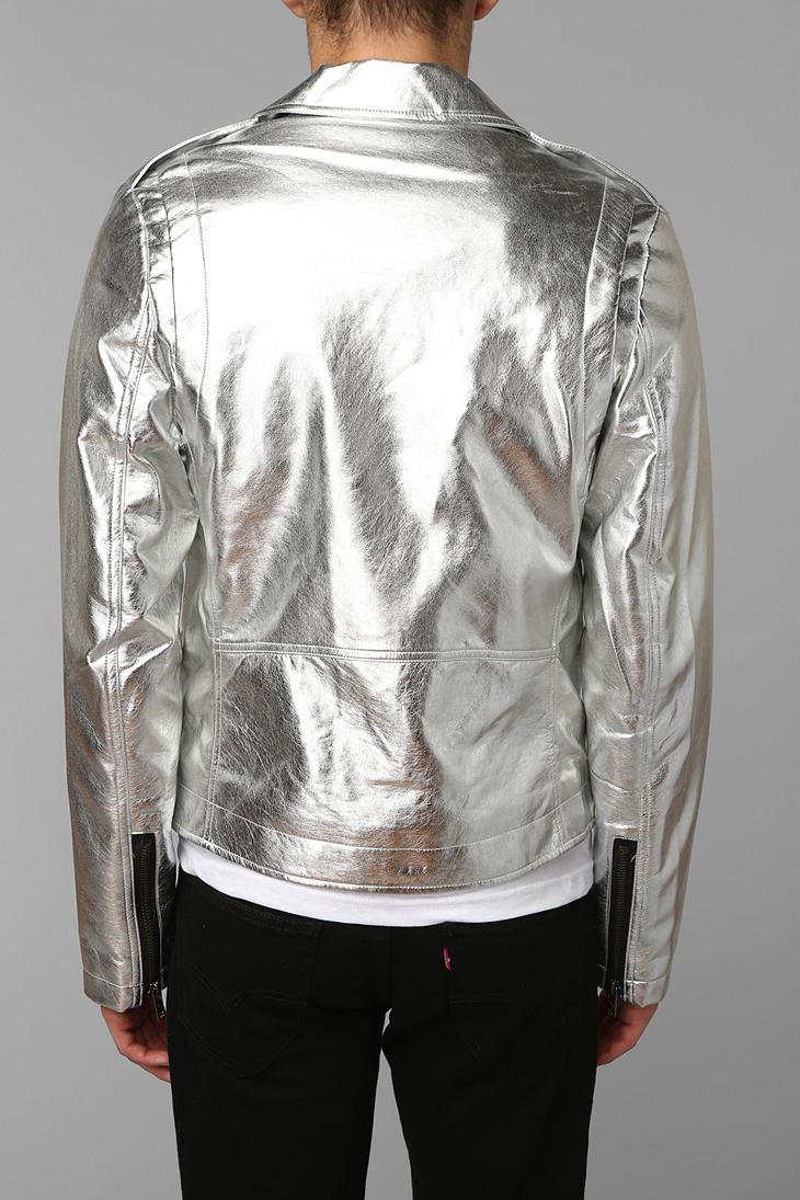 Lyst Urban Outfitters Tripp Nyc Silver Moto Jacket In