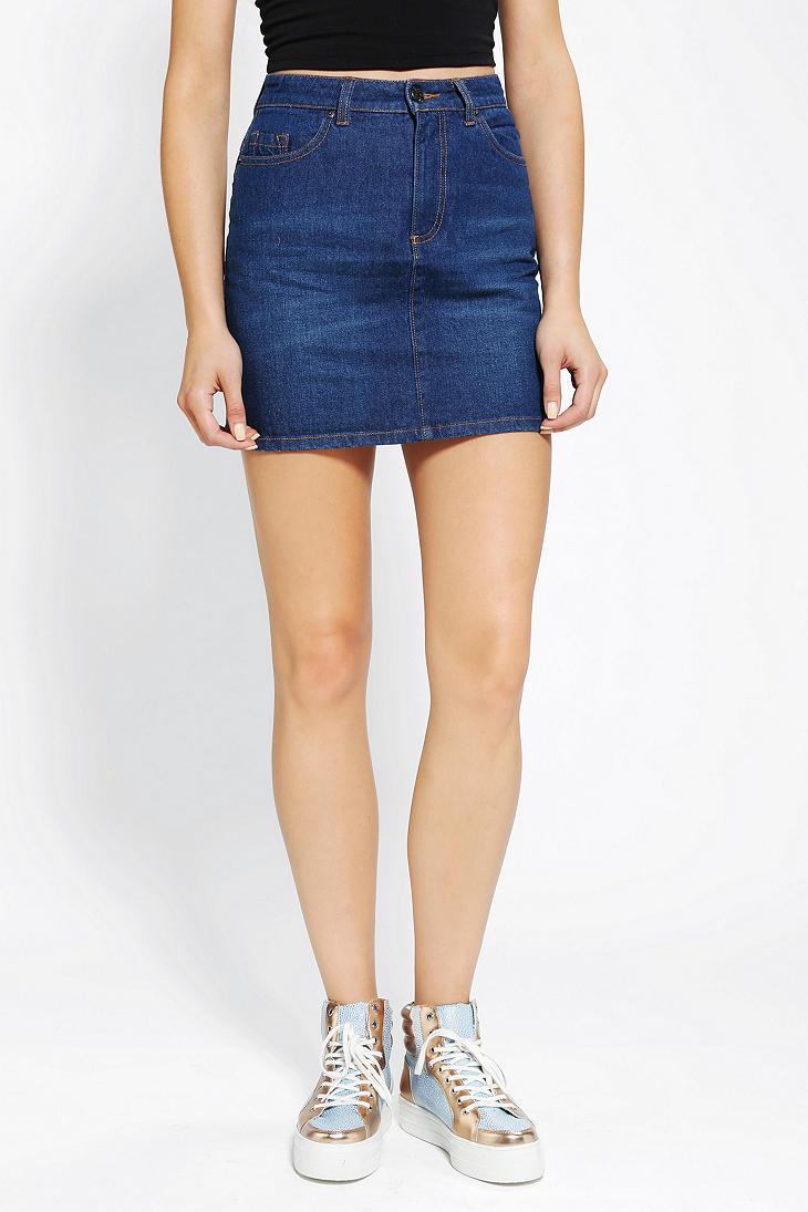 Urban outfitters Bdg Denim Mini Skirt in Blue | Lyst