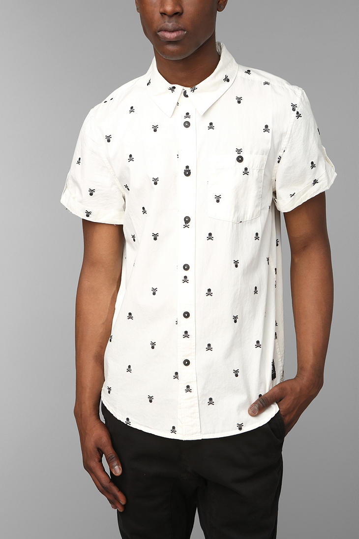 Urban outfitters kc by kill city skull embroidery for Men s down shirt