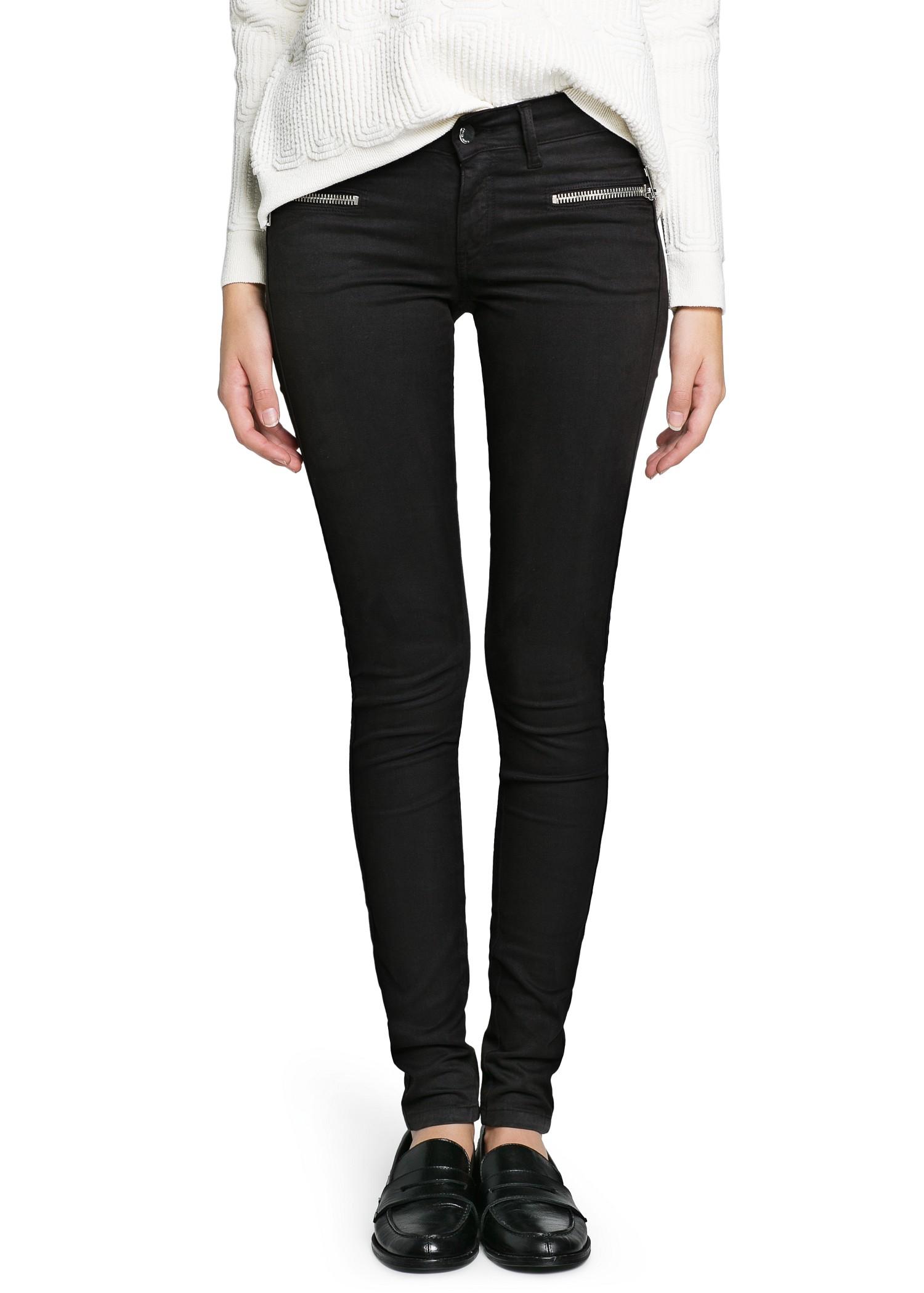 be128074e3 Mango Super Slim Fit Zip Black Jeans in Black - Lyst