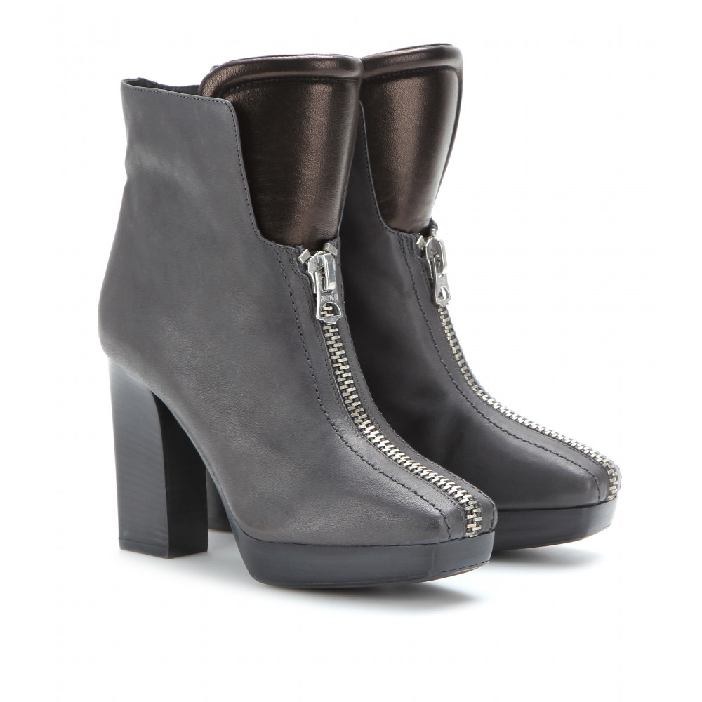 acne studios vita leather ankle boots in gray grey lyst