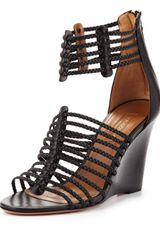 Aquazzura Venus Strappy Wedge Sandal Black - Lyst
