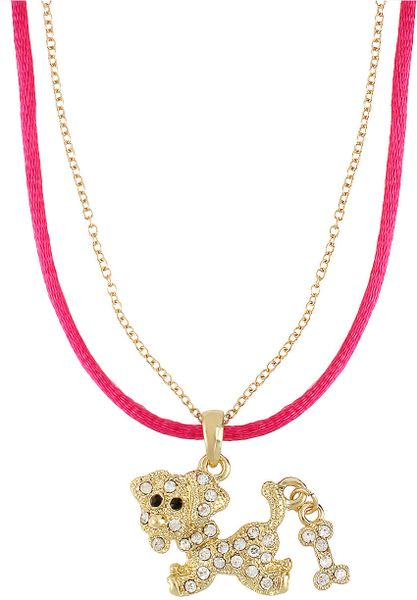 Betsey Johnson Crystal Encrusted Dog Pendant Necklace In