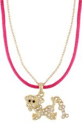 Betsey Johnson Crystal encrusted Dog Pendant Necklace - Lyst