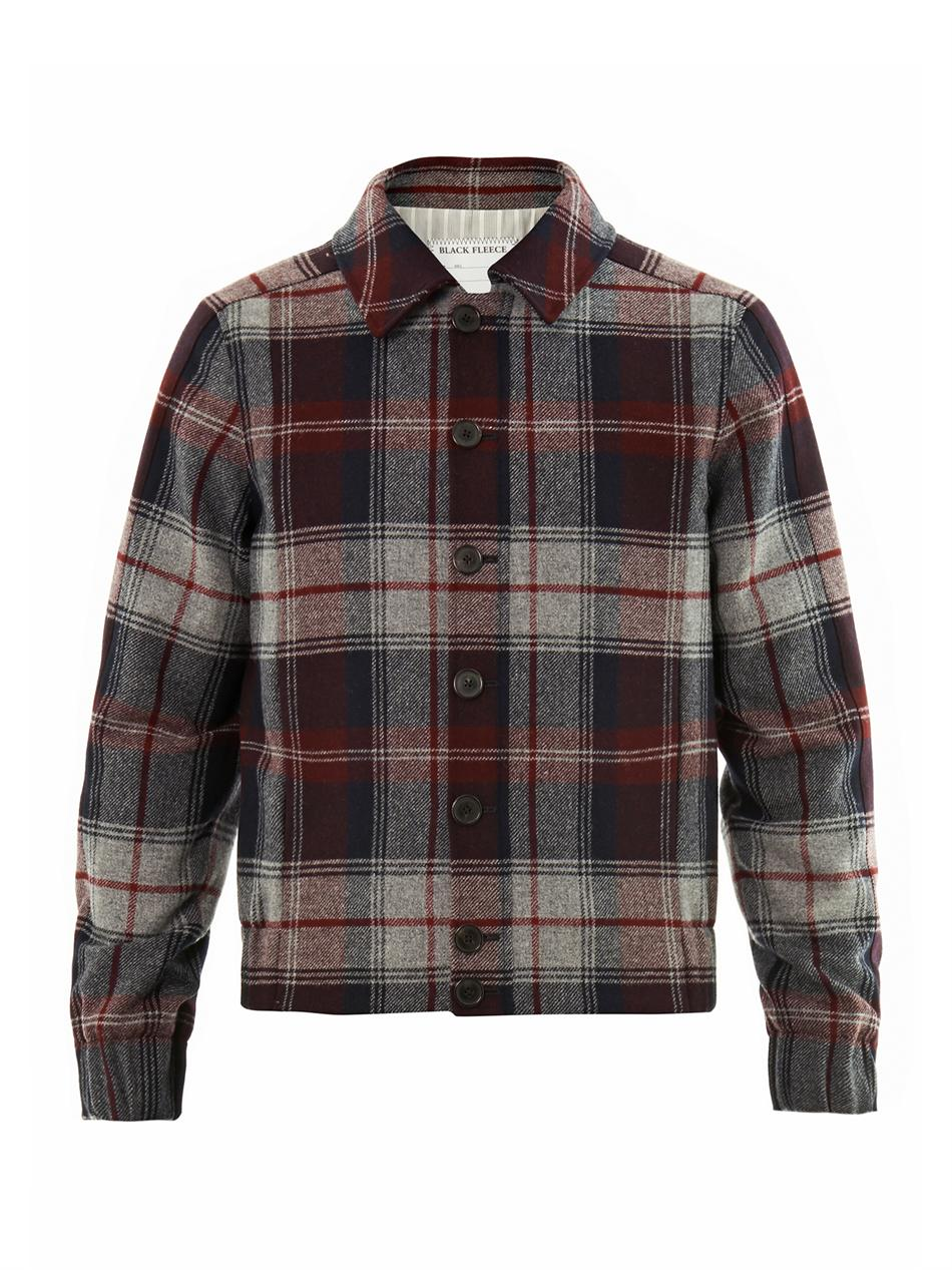 Black Fleece Checked Wool Bomber Jacket In Red For Men Lyst
