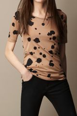 Burberry Silk Cotton Splatter Print Tshirt - Lyst
