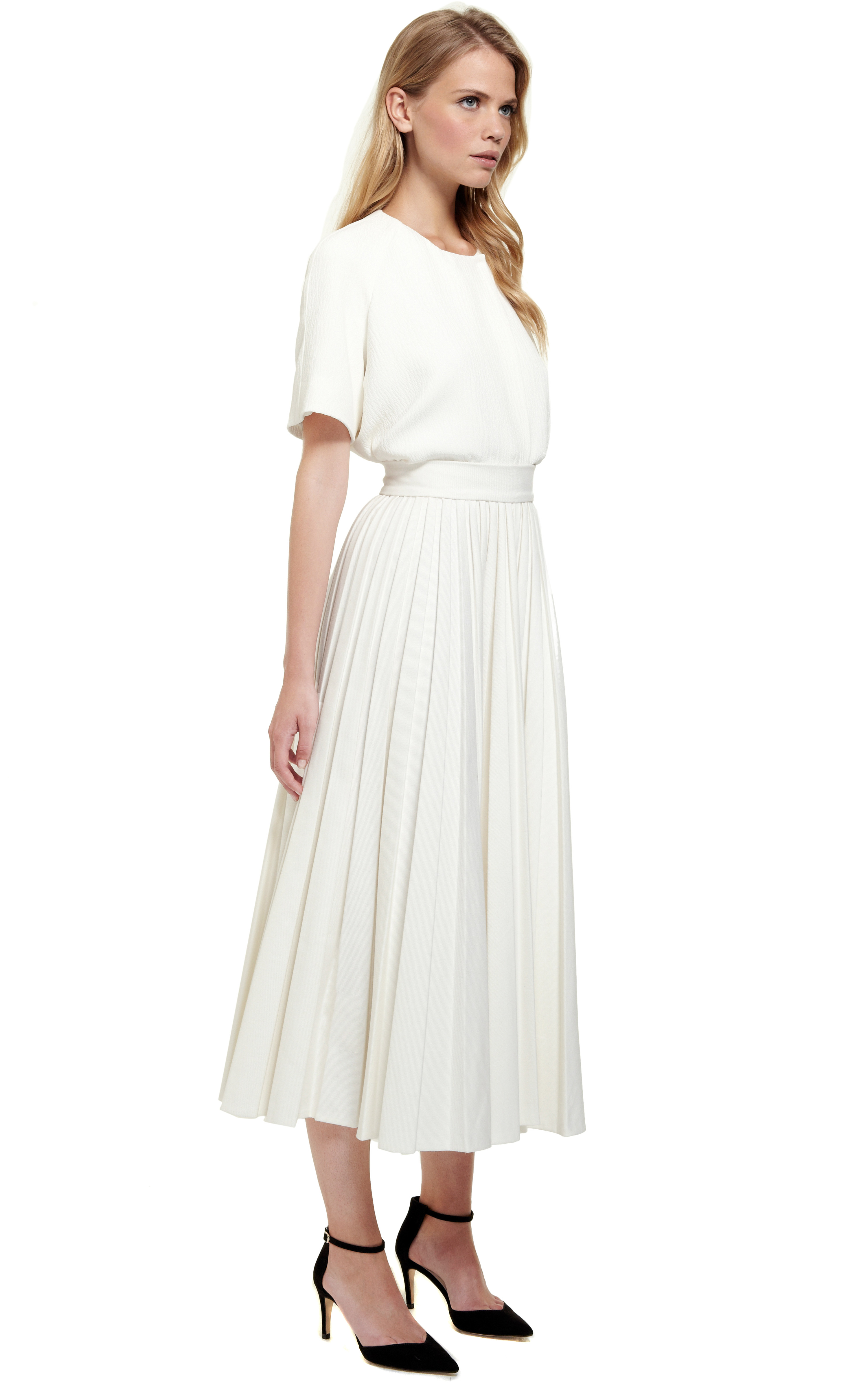 Emilia Wickstead Pleated Skirt In White Lyst