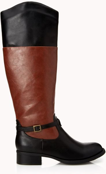 Forever 21 Standout Riding Boots In Brown Dark Brown