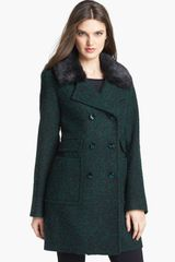 Ivanka Trump Detachable Faux Fur Collar Tweed Coat - Lyst