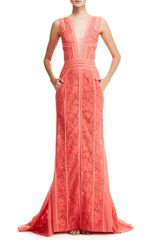 J. Mendel Vneck Lace Gown with Pockets - Lyst