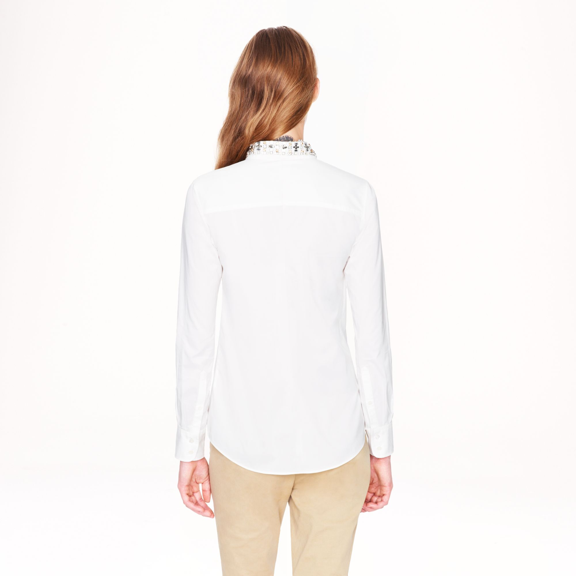 Lyst J Crew Jeweled Collar Boy Blouse In Natural