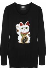 Markus Lupfer Lucky Cat Sequined Merino Wool Sweater - Lyst