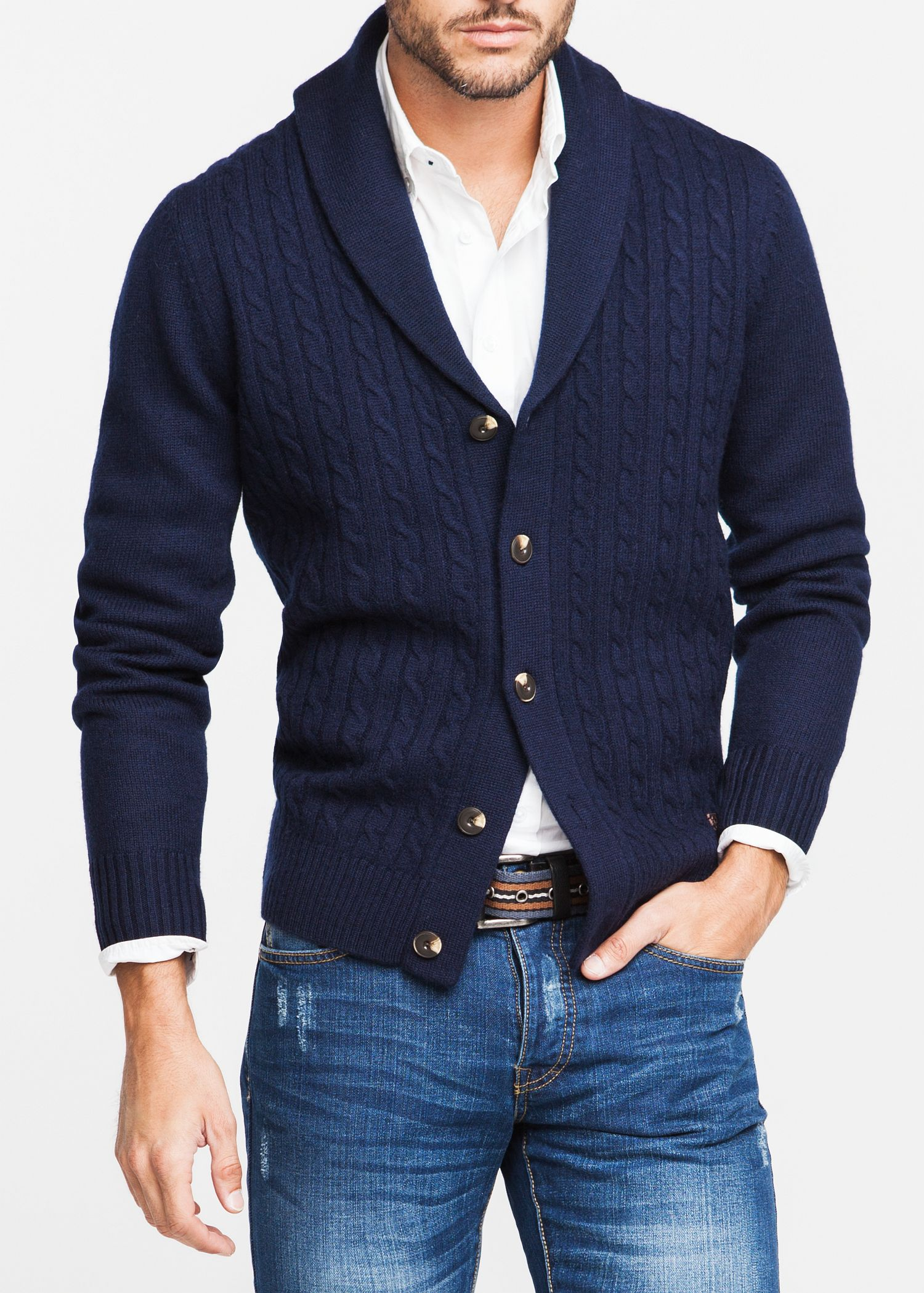 Mango Cableknit Wool Cardigan in Blue for Men | Lyst