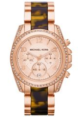 Michael Kors Chronograph Blair Tortoise and Rose Goldtone Stainless Steel Bracelet 39mm - Lyst