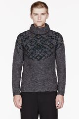 Moncler Grey Patterned Winter Turtleneck Sweater - Lyst