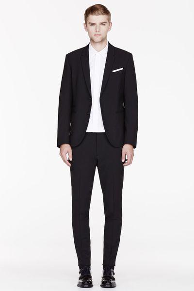 Neil barrett black fine wool slim fit suit in black for men lyst