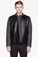Neil Barrett Grey Wool and Leather Jacket - Lyst