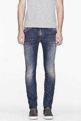 Nudie Jeans Blue and Brown Organic Thin Finn Jeans - Lyst