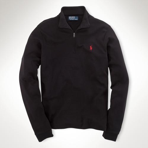polo ralph lauren interlock half zip pullover in black for men lyst. Black Bedroom Furniture Sets. Home Design Ideas