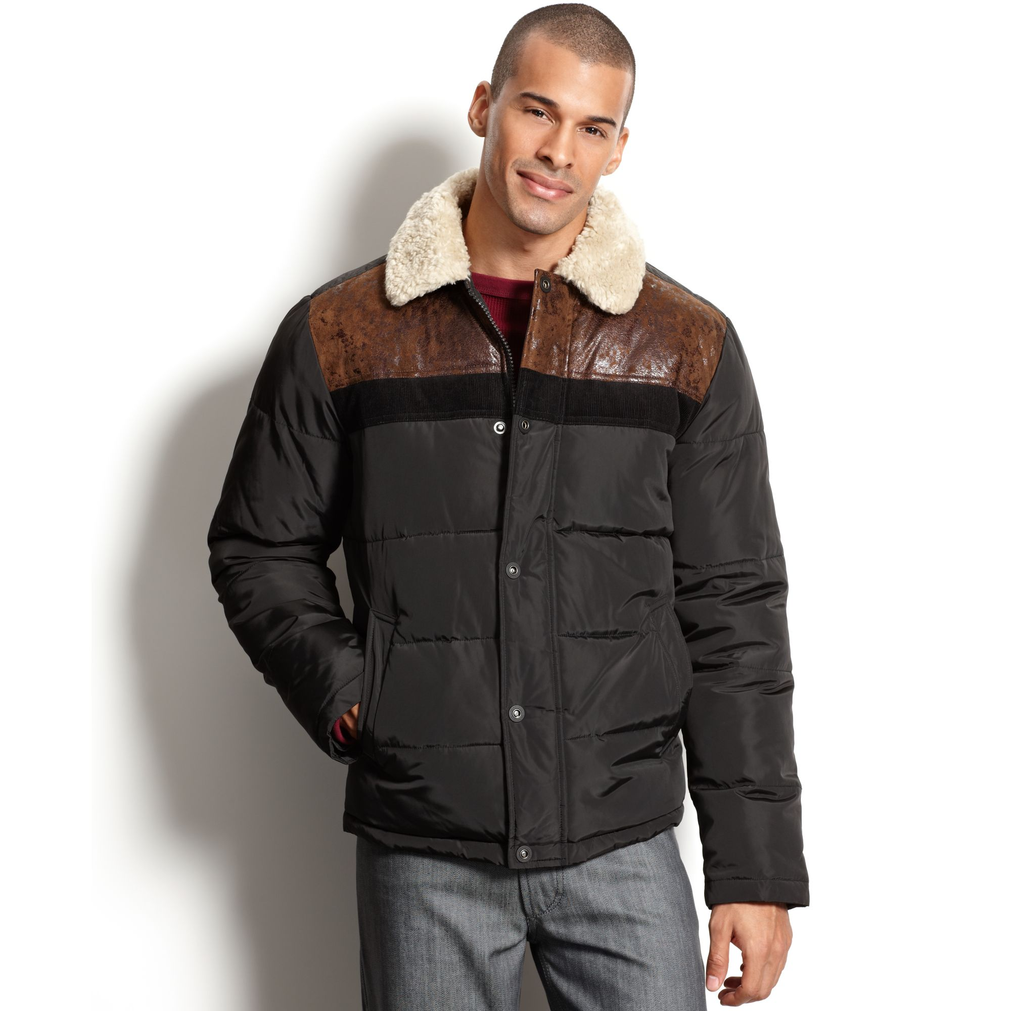 Lyst Sean John Sherpa Mixed Guilted Jacket In Brown For Men