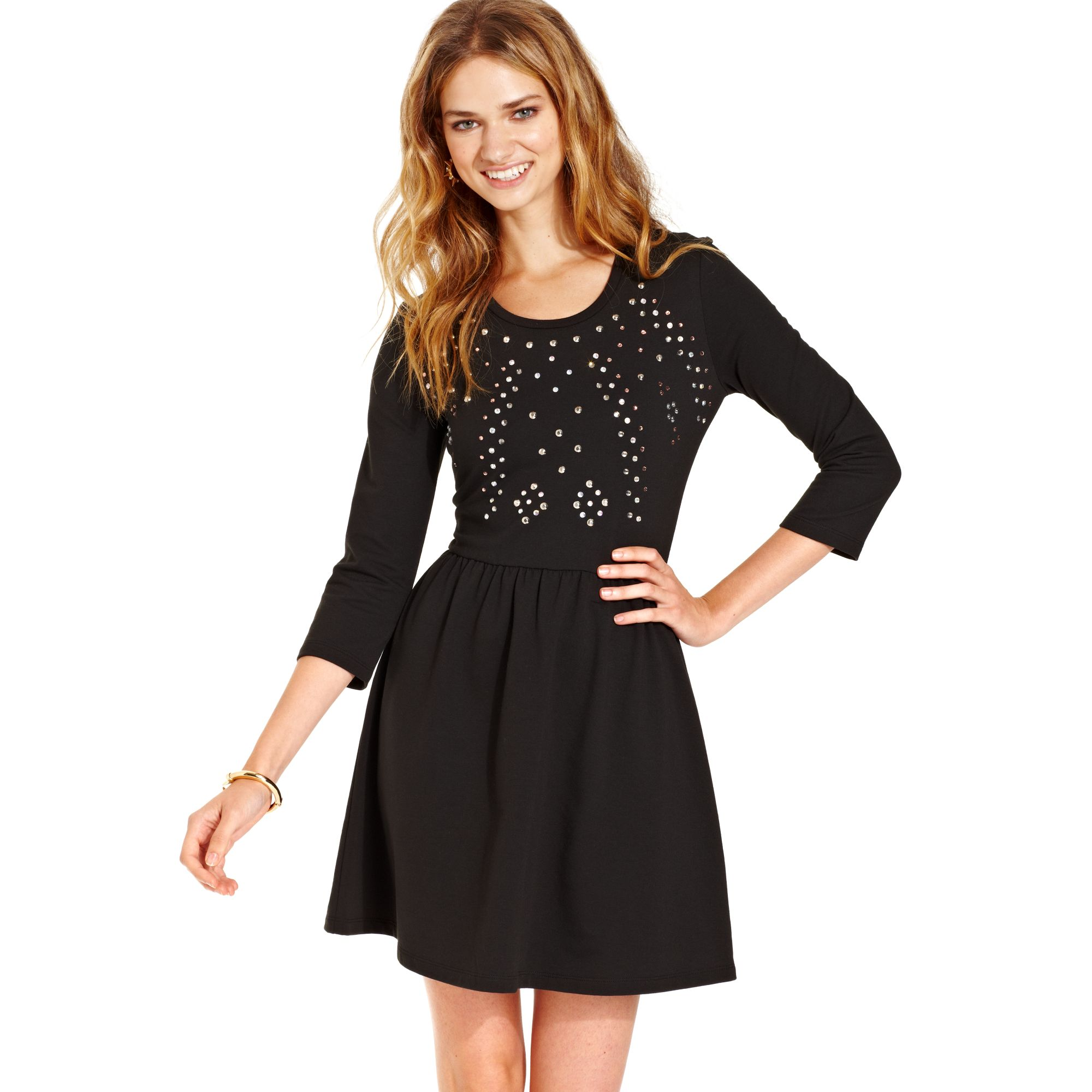 Macy's Embellished Sweatshirt Fit Flare Dress in Black | Lyst