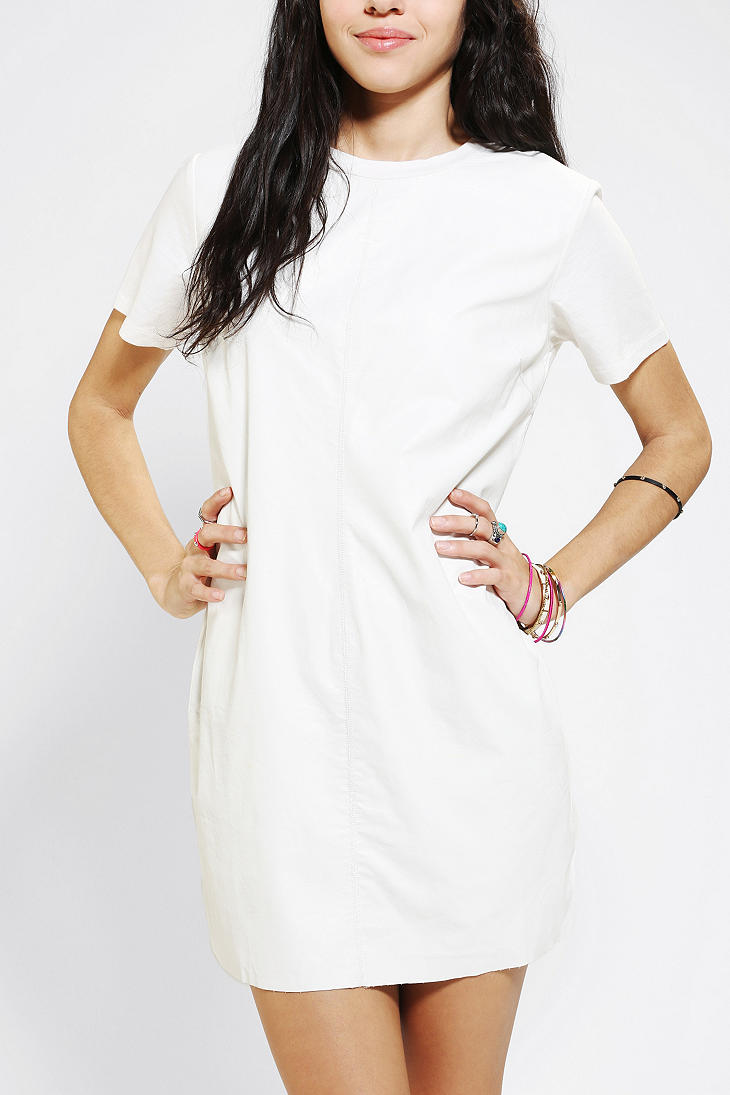 Lyst urban outfitters lucca couture faux leather tshirt for Dressy white t shirt